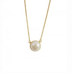 Colier auriu cu perla buton...