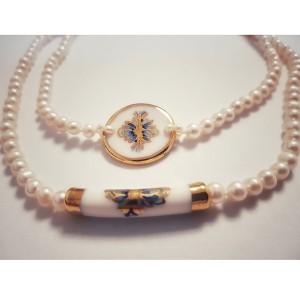Colier cu perle albe si...